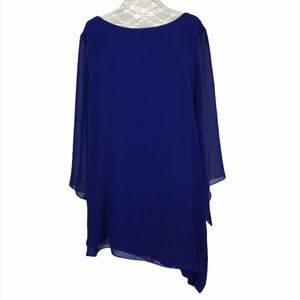 Chico's Boat Neck 3/4 Sleeve Sheer Overlay Blouse